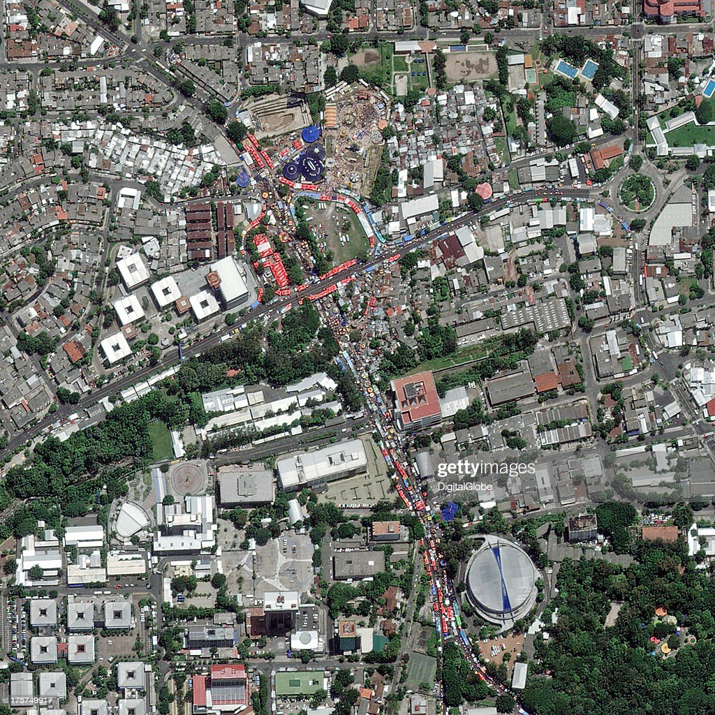 This is a satellite image of August festivities in San Salvador honoring Jesus Christ.