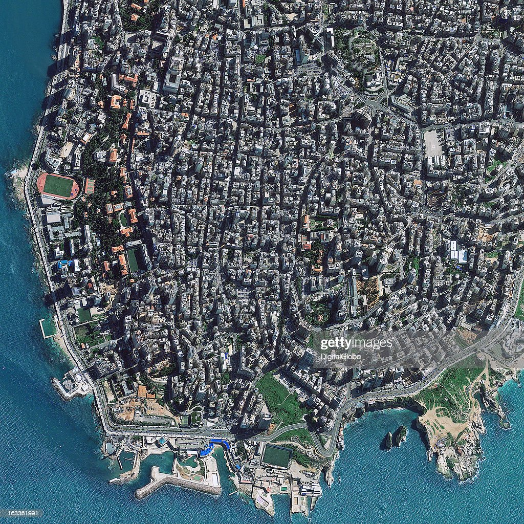 This is a satellite image of Beirut, Lebanon collected on February 23, 2011r.