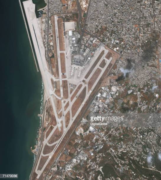 This is a satellite image of Beirut Lebanon featuring the Rafic Hariri International Airport after it was bombed collected on July 15 2006