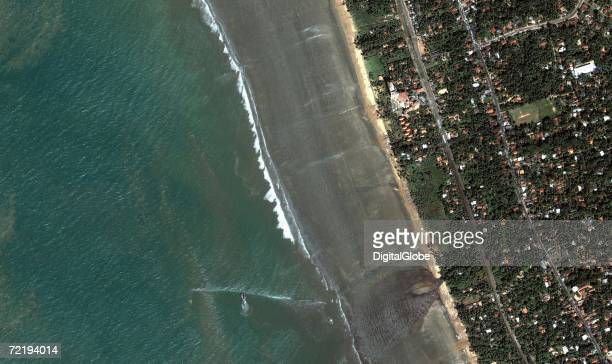 This is a satellite image of Kalutara Sri Lanka collected on December 26 2004