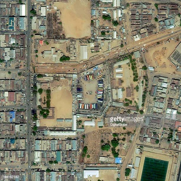 This is a satellite image of Kano Nigeria on March 7 2013 before a suicide car bomb was detonated at a bus station on March 19 2013