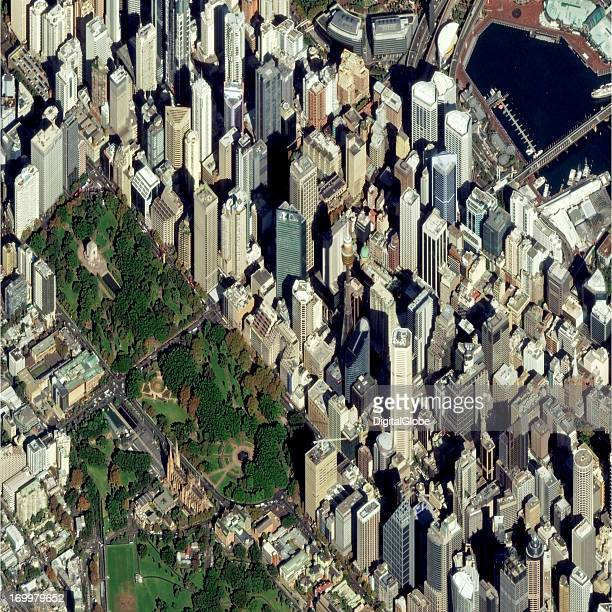 This is a satellite image of land marks in Sydney Australia