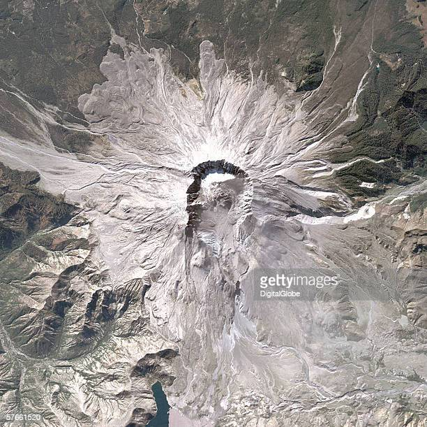 This is a satellite image of Mount St Helens collected on October 2, 2004.