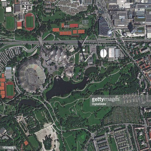 OLYMPIAPARK MUNICH GERMANY SEPTEMBER 8 2012 This is a satellite image of Olympiapark Munich Germany constructed for the 1972 Summer Olympics...