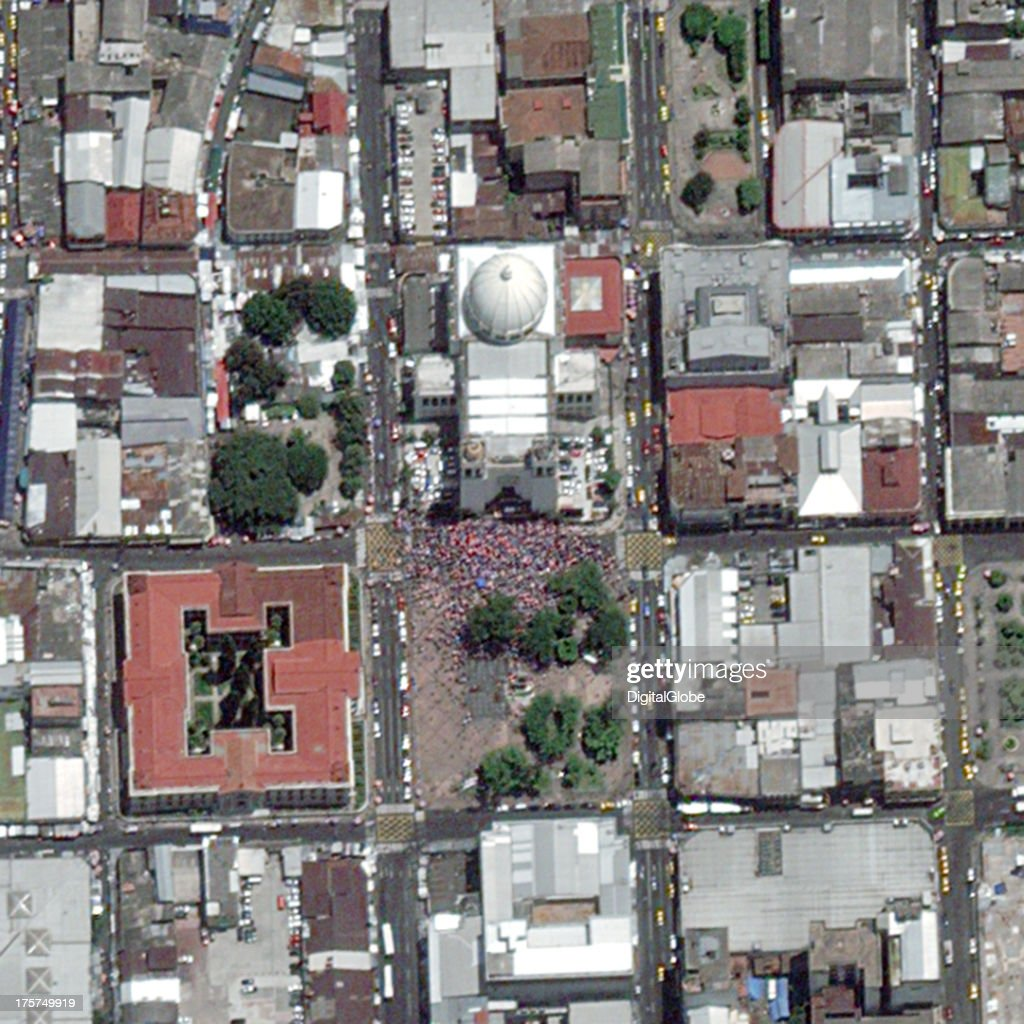 This is a satellite image of San Salvador were August festivites honoring Jesus Christ are taking place at the Metropolitan Cathedral of the Holy Savior.