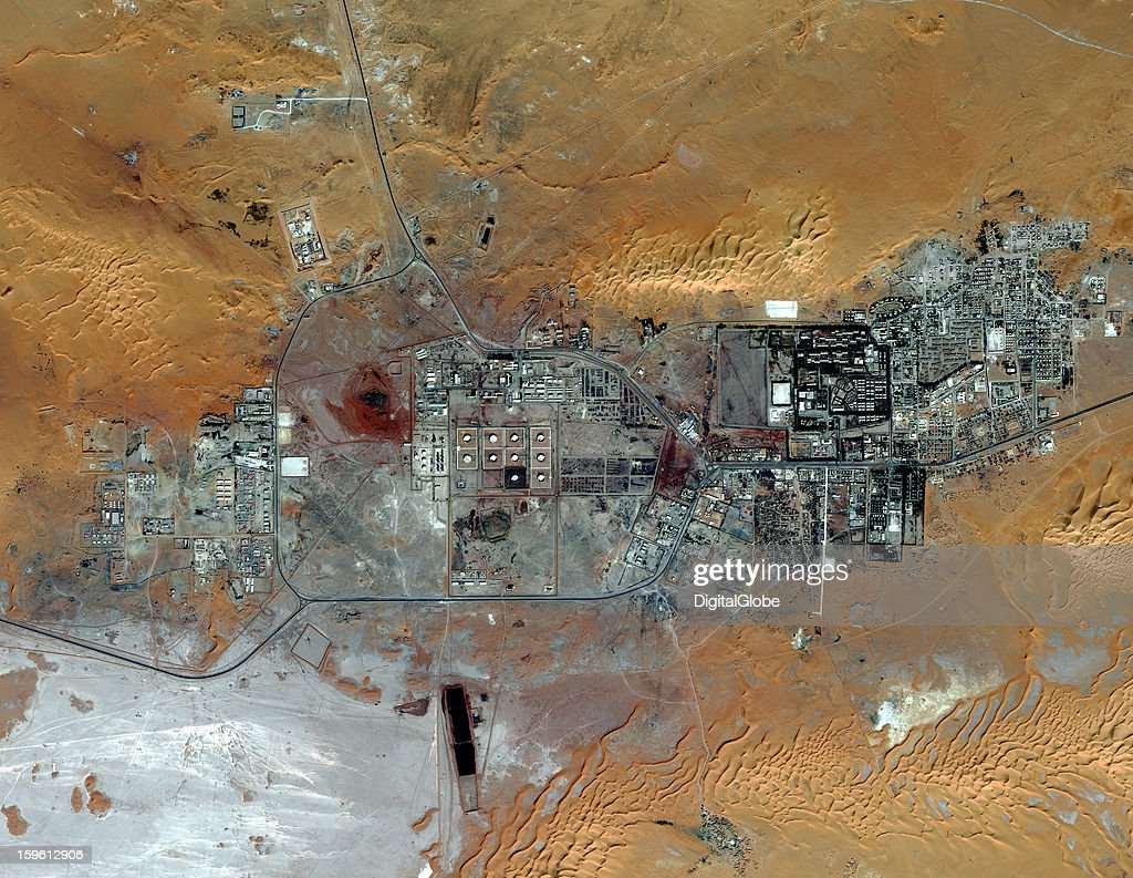This is a satellite image of the Amenas, Algeria. Islamist militants held dozens of foreign hostages and hundreds of Algerian workers hostage in a gas field located approximately 45 km from the city.