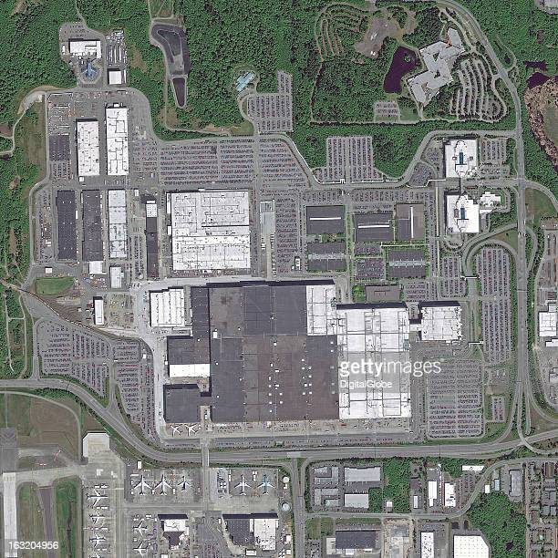 This is a satellite image of the Boeing Headquarters in Everett Washington United States collected on May 15 2012