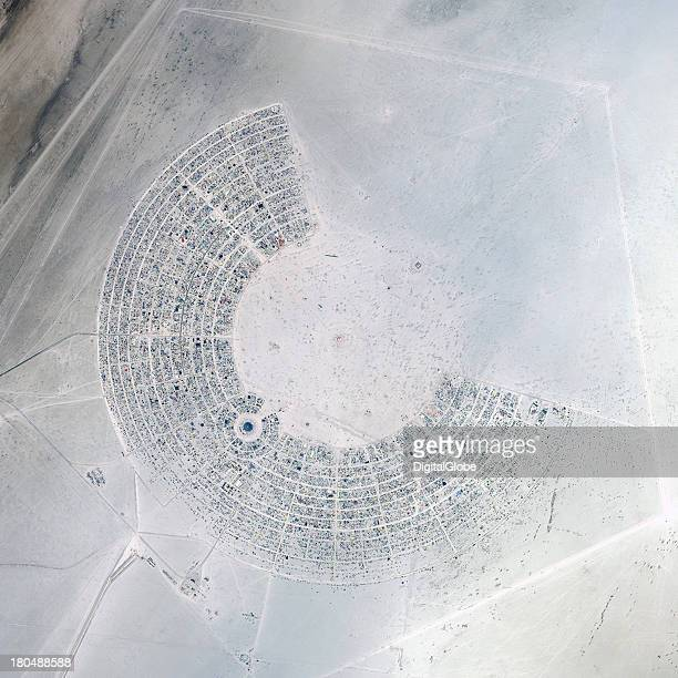 This is a satellite image of the Burning Man Festival Black Rock City Nevada United States collected on August 27 2013