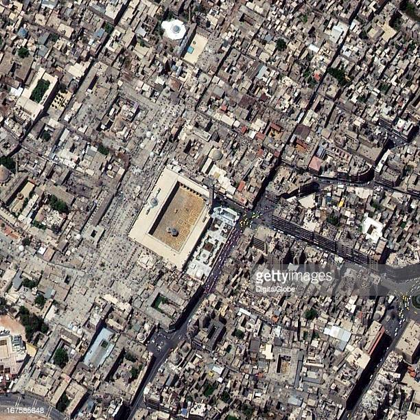 This is a satellite image of the great mosque of Aleppo before a 11th century minaret was destroyed on April 24 2013