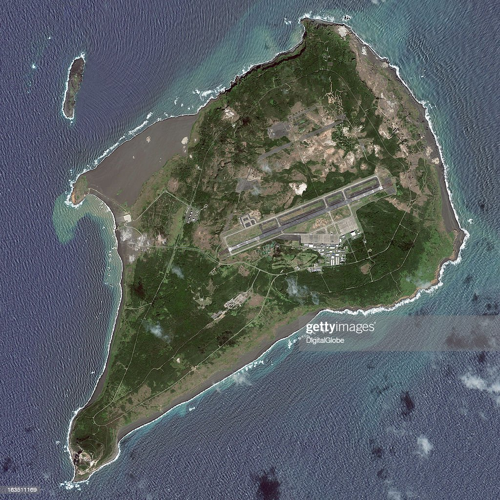 IWO JIMA, OGASAWARA, JAPAN - MARCH 10, 2010: This is a satellite image of the island of Iwo Jima, part of the Bonin Islands, were the Battle of Iwo Jima took place in 1945, US occupied until 1968 when it was returned to Japan, in Iwo Jima, Ogasawara, Japan. Collected on March 10, 2010.
