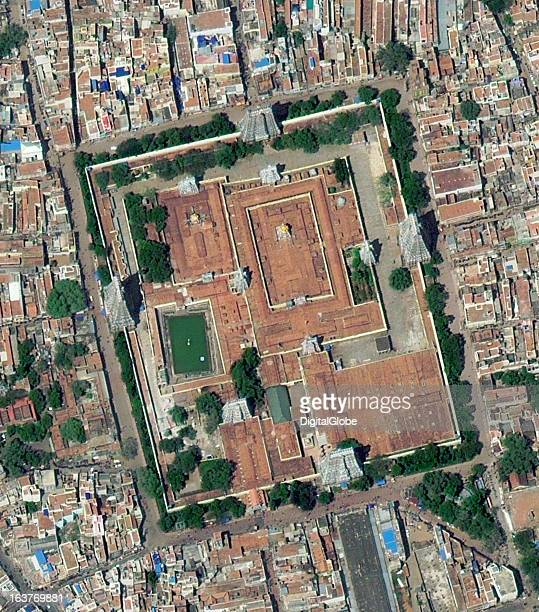 This is a satellite image of the Meenakshi Sundareswarar Temple Security at the temple has increased because of an alert from intelligence agencies...