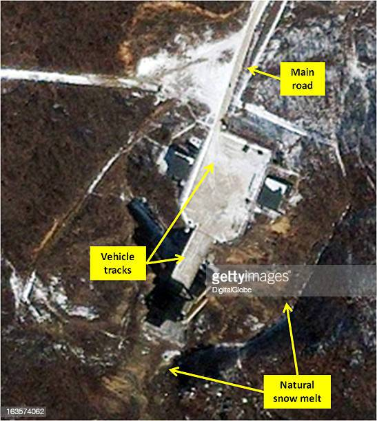 This is a satellite image of the rocket engine test stand five days after the reported test at the Sohae Satellite Launching Station
