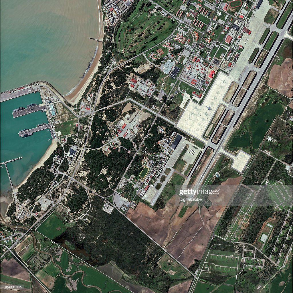 This is a satellite image of the strategically located Naval Station Rota in Rota, Spain, on the Bay of Cadiz. Reports indicate that four U.S. destroyers will be moved to NAVSTA Rota along with 1,100 military personnel and 100 civilians to support the NATO missile defense efforts this year.