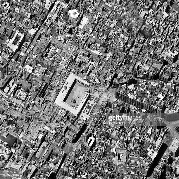 This is a satellite image of the Ummayyad Mosque after a 11th century minaret was destroyed on April 24 2013