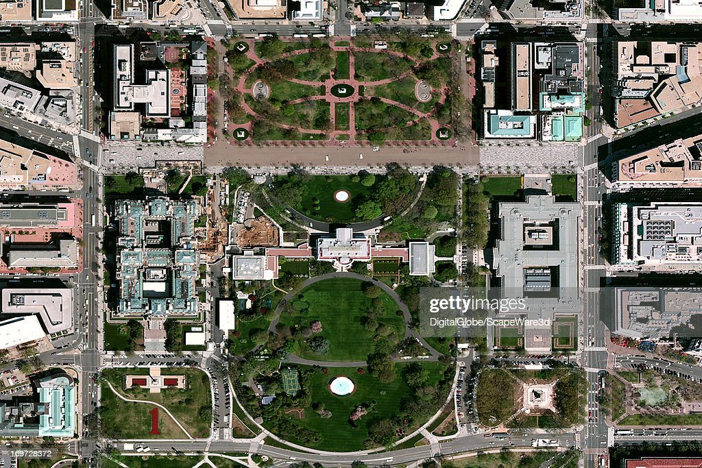 This is a satellite image of the  White Housel in Washington DC. : News Photo