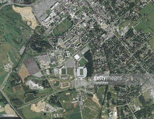 This is a satellite image of Virginia Tech University Blacksburg Virginia collected by DigitalGlobe via Getty Images