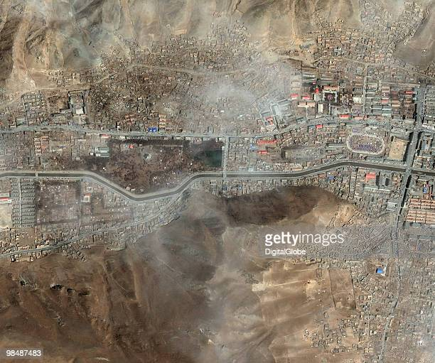 "This is a satellite image of Yushu, China post earthquake, taken on April 15, 2010. China's leaders have urged rescuers to make ""all-out efforts to..."