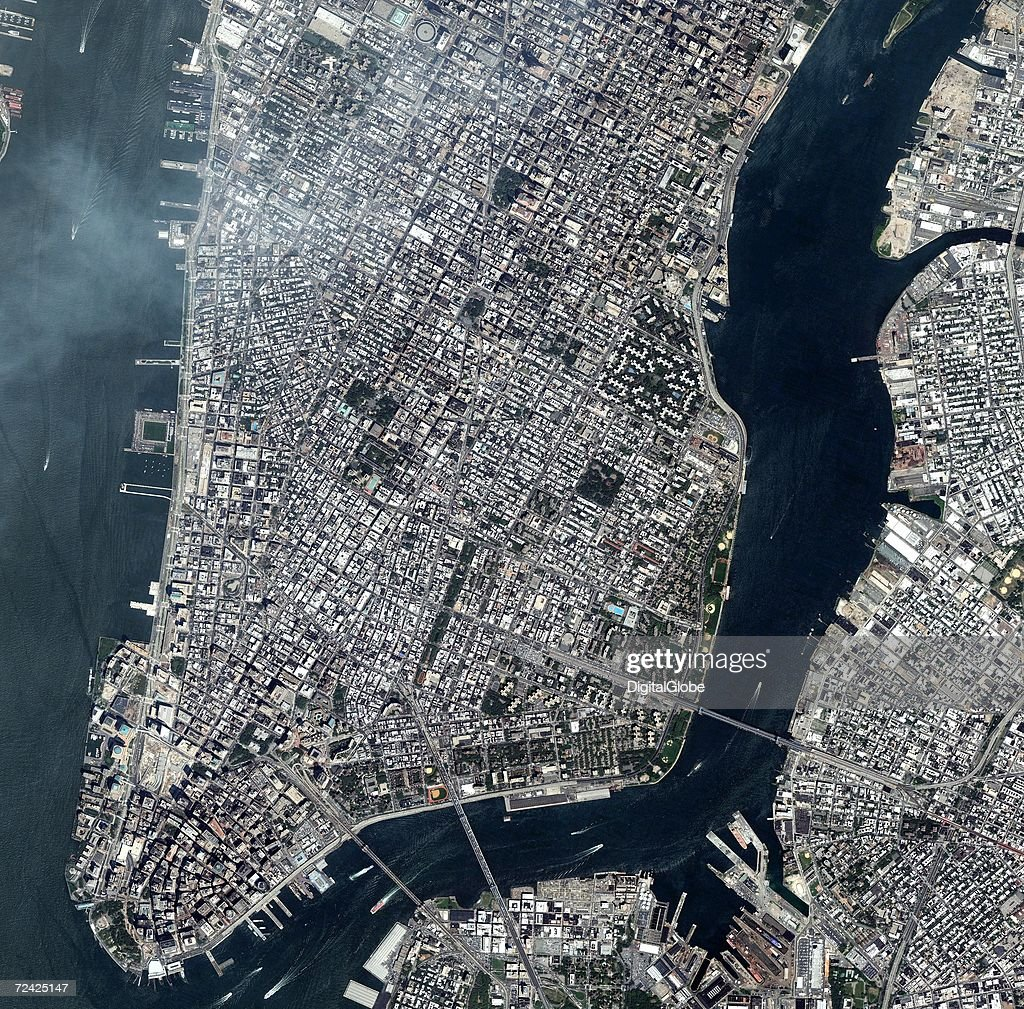 This is a satellite image overview of lower Manhattan in New York City, New York collected on July 18, 2006.