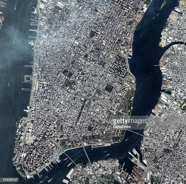 This is a satellite image overview of lower Manhattan in New York City New York collected on July 18 2006