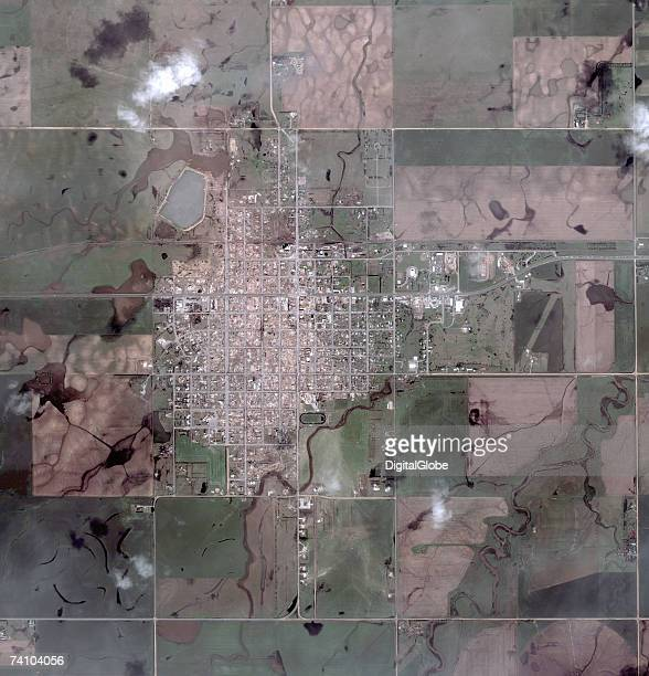 This is a satellite image taken May 7 2007 of Greensburg Kansas Greensburg was hit by a Cat 5 tornado May 4 2007