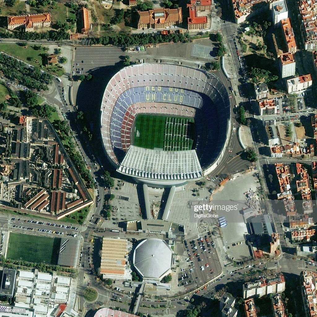 Satellite Image of the football stadium Camp Nou in Barcelona, Spain. : Nachrichtenfoto