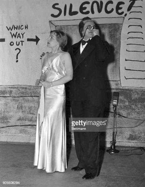 This is a scene from skits presented by the Women's National Press Club at their annual dinner and stunt party in Washington Mrs Franklin D Roosevelt...