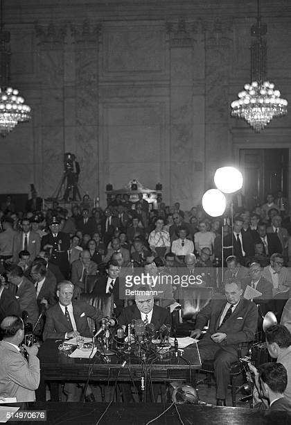 This is a semi-general view of FBI Director J. Edgar Hoover, , as he testifies before the Senate Internal Security Subcommittee on the Harry Dexter...