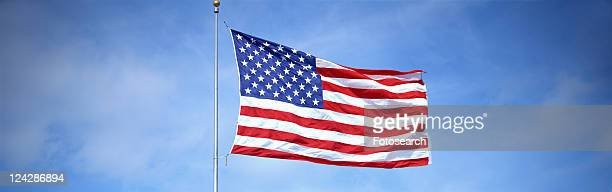 This is a shot of an American flag on a flagpole