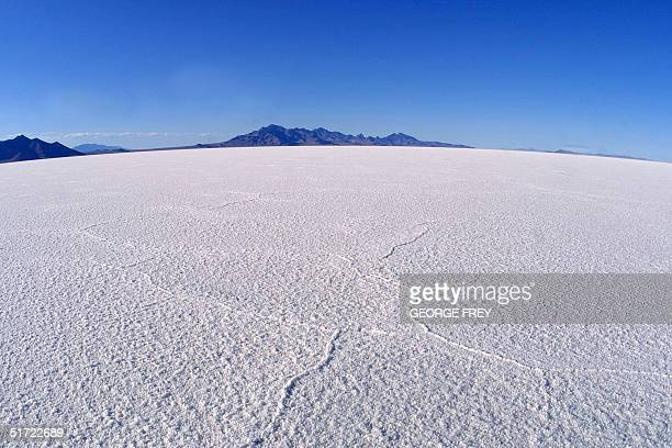 This is a shot of the Bonneville Salt Flats 100 miles west of Salt Lake CityUtah 24 July 2001 The salt flats are the second largest in the world and...