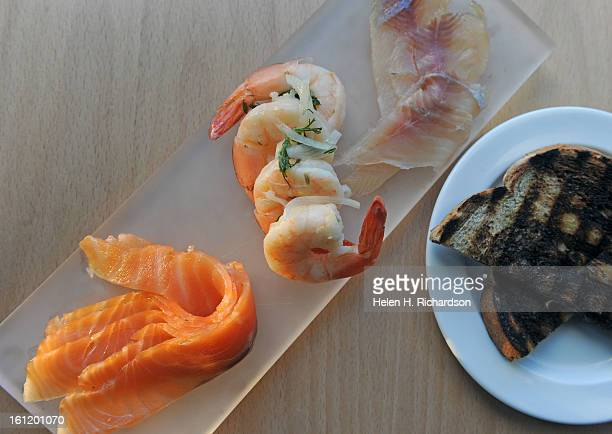 This is a smorgasbord of Aquavit cured salmon lemon and dill pickled shrimp and maple sugar cured rainbow trout Trillium is a new Scandinavian...
