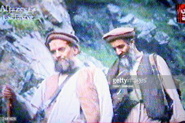 This is a still image taken from a video tape aired on Al-Jazeerah station September 10, 2003 that shows Al-Qaeda leaders Osama Bin Laden and Ayman...