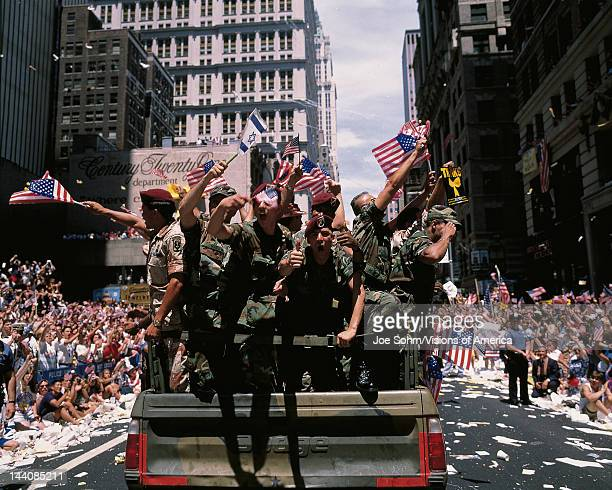 This is a Ticker Tape Parade commemorating the Desert Storm Victory Parade, It is located in the Canyon of Heroes, Around 4.7 million people attended.