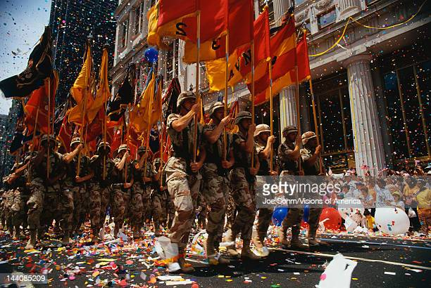 This is a Ticker Tape Parade showing the Desert Storm Victory Parade, It took place in the Canyon of Heroes where about 4.7 million people attended,...