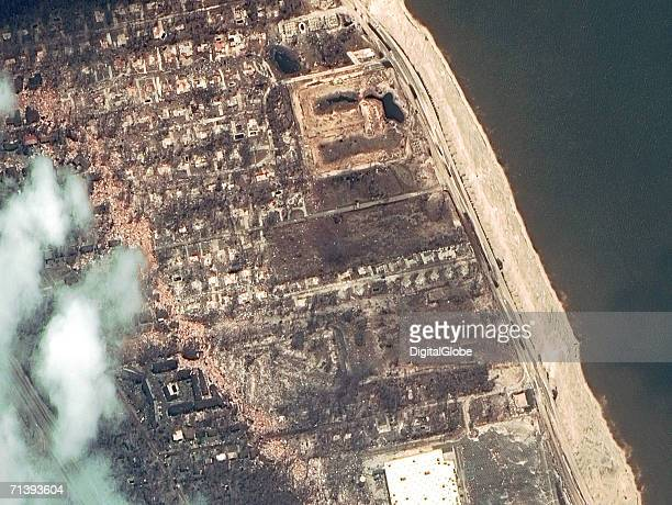 This is a true color satellite image of Long Beach Mississippi collected August 31 2005 This image shows destruction of the area after Hurricane...