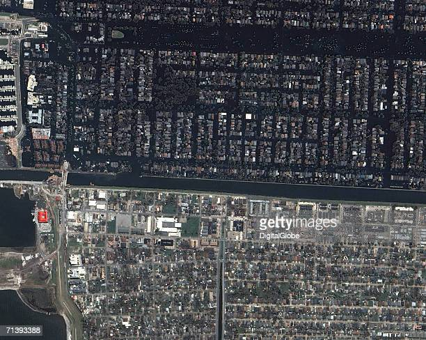 This is a true color satellite image of New Orleans Louisiana collected September 3 2005 This image features the 17th Street Levee break shortly...