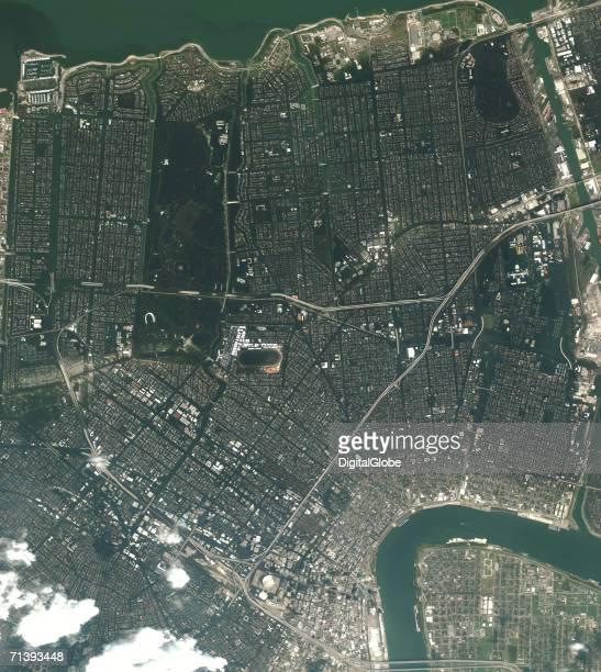 This is a true color satellite image of New Orleans Louisiana collected August 31 2005 This image is an overview of downtown New Orleans and the...
