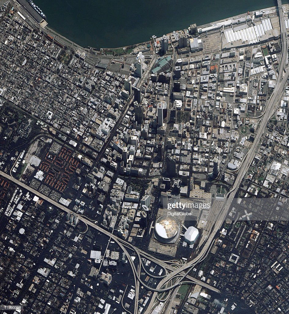 This is a true color satellite image of New Orleans, Louisiana collected on August 31, 2005. This image features a rotated view of downtown New Orleans after Hurricane Katrina struck and the area had flooded.