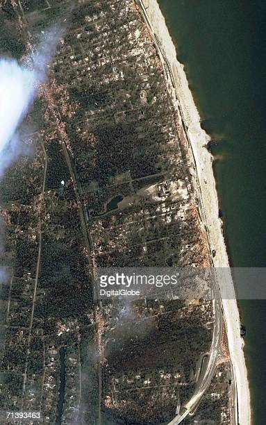 This is a true color satellite image of Pass Christian Mississippi collected August 31 2005 This image features the damaged coastal area of Pass...