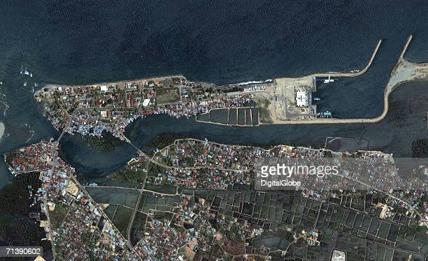 This is a true color satellite image of the northern part of Banda Aceh, Indonesia collected June 23, 2004.