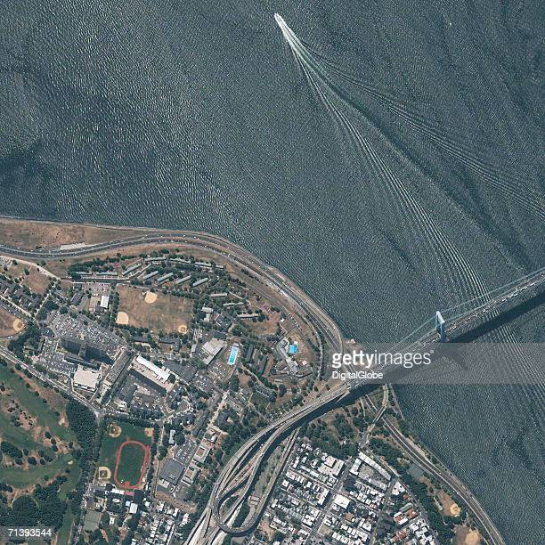 This is a true color satellite image of Verrazano Narrows Bridge New York New York collected on August 2 2002