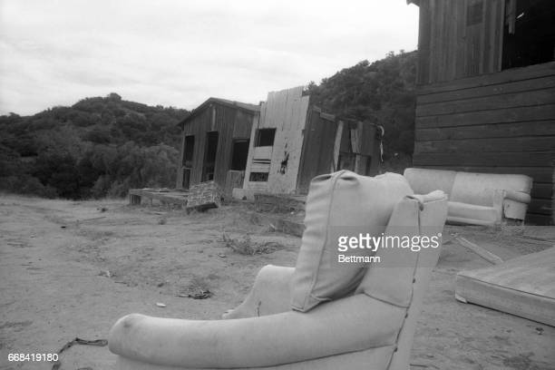 This is a typical abandoned cabin in Spahn Ranch a former movie ranch north of Los Angeles in which members of a hippie type commune lived at the...