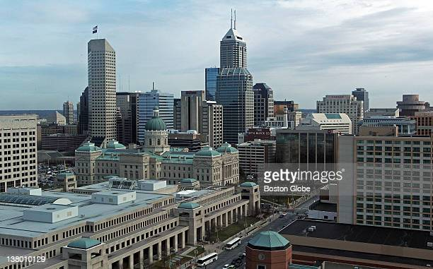 This is a view of downtown Indianapolis The New England Patriots will meet the New York Giants in Super Bowl XLVI on Sunday at Lucas Oil Stadium