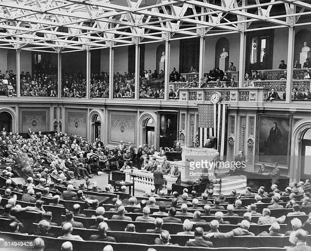 This is a view of the House of Representatives in session as it voted unanimously that a state of War existed between the countries Germany and...