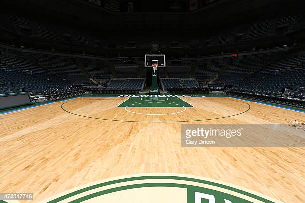 This is a view of the Milwaukee Bucks new court on June 23 2015 at the BMO Harris Bradley Center in Milwaukee Wisconson NOTE TO USER User expressly...