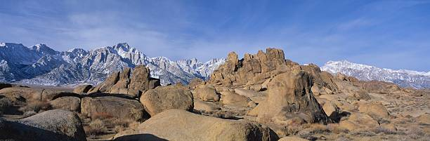 """This is Alabama Hills National Park with Mount Whitney. Mt. Whitney's elevation is 14,495 feet, the tallest mountain in North America."""