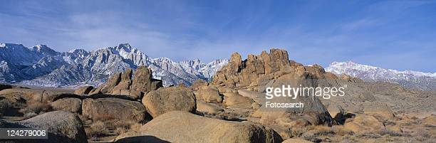 this is alabama hills national park with mount whitney - alabama hills stock photos and pictures