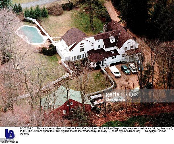 This is an aerial view of President and Mrs Clinton's $17 million Chappaqua New York residence Friday January 7 2000 The Clintons spent their first...