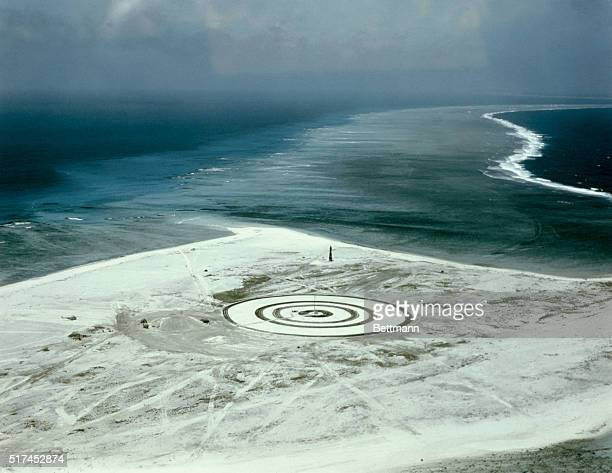 This is an aerial view of target outlined on Namu Island of the Bikini Atoll for the Cherokee test detonation