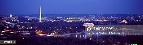 This is an aerial view of Washington DC with the Jefferson Memorial US Capitol Washington Monument and Lincoln Memorial The Potomac River runs...