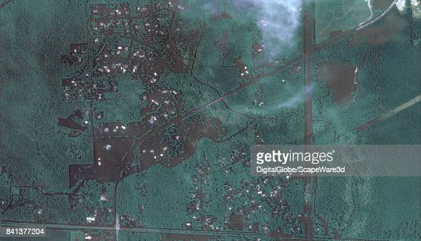 This is an 'after' DigitalGlobe satellite imagery of a neighborhood east of Beaumont Texas after Hurricane Harvery